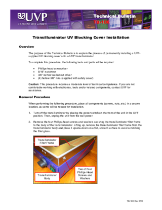 TB-106 Transilluminator UV Blocking Cover Installation